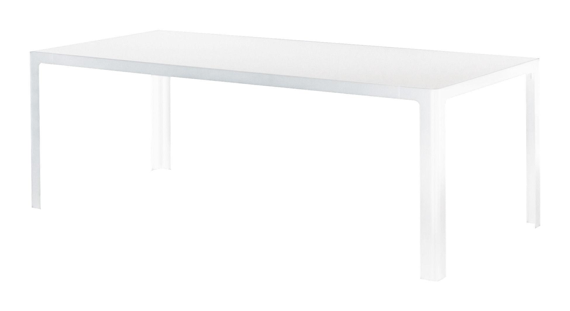 Mobilier - Tables - Table rectangulaire Metisse / Verre - 240 x 90 cm - Zeus - Plateau blanc / Structure blanc demi-opaque - Acier, Verre