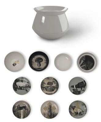Tischkultur - Teller - Luso d'Antan Tafelservice / stapelbar: 4 Salatschüsseln + 6 Dessertteller - Ibride - Außenseite hellgrau / Innenseite mit Motiven verziert - Melamin