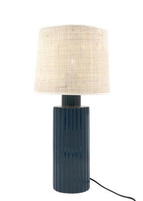 "Leuchten - Tischleuchten - Portofino Tischleuchte / Bast & Keramik - H 54 cm - Maison Sarah Lavoine - Blau ""Sarah"" - Keramik, Rabane"