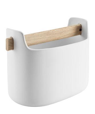 Accessori moda - Accessori ufficio - Contenitore di riordino / L 19 x H 15 cm - Ceramica & rovere - Eva Solo - Bianco / Rovere - Ceramica, Rovere