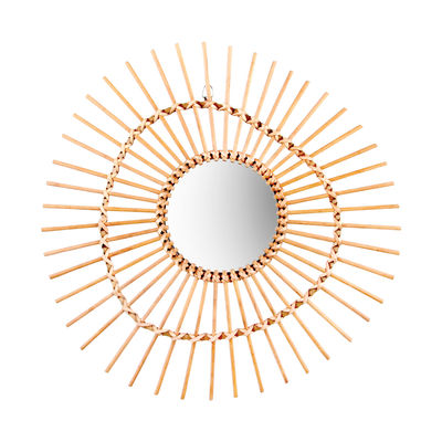 Dekoration - Spiegel - Bamboo Irregular Wandspiegel / Rattan - Ø 47 cm - & klevering - Unregelmäßige Form / naturfarben - Glas, Rattan