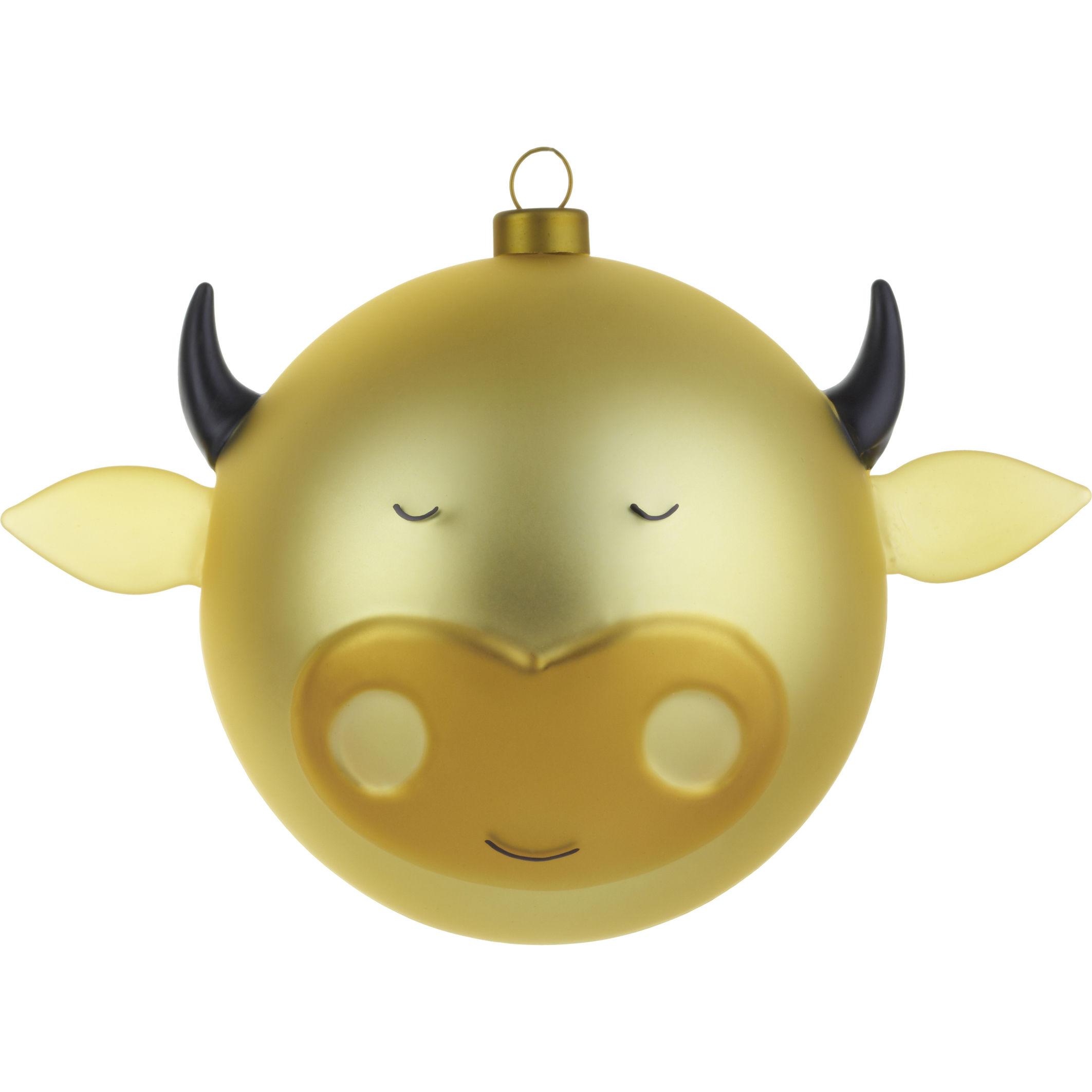 Dekoration - Dekorationsartikel - Bue Weihnachtskugel / Ochse - A di Alessi - Ochse - golden - mundgeblasenes Glas