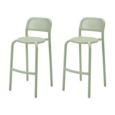 Furniture - Bar Stools - Toní Barfly Bar chair - / H 82.3 cm - Set of 2 / Perforated aluminium by Fatboy - Green - Powder-coated aluminium