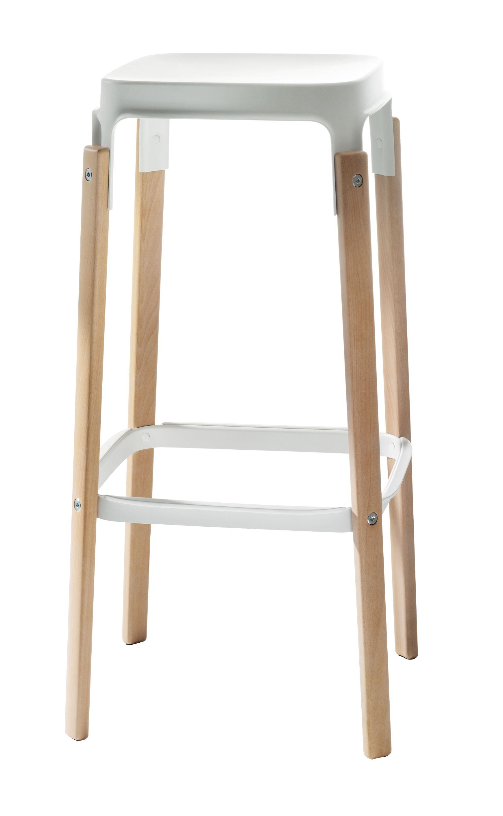 Möbel - Barhocker - Steelwood Barhocker Zweifarbig Variante - H 78 cm - Magis - Weiß / Buche - Buchenfurnier, gefirnister Stahl