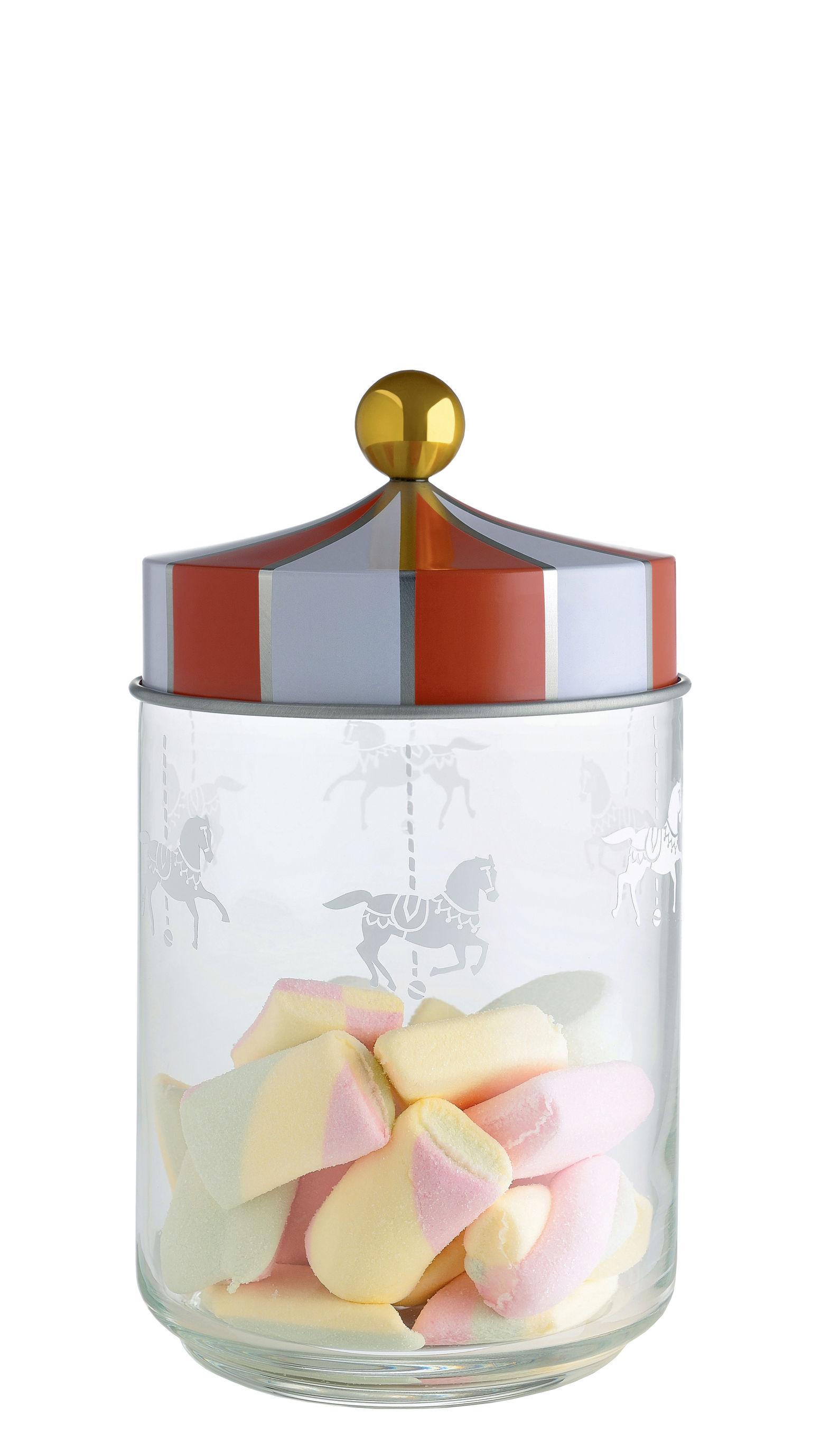 Cuisine - Boîtes, pots et bocaux - Bocal hermétique Circus / 100 cl - Verre & métal - Alessi - 100 cl / Rouge & blanc - Fer blanc, Verre sérigraphié