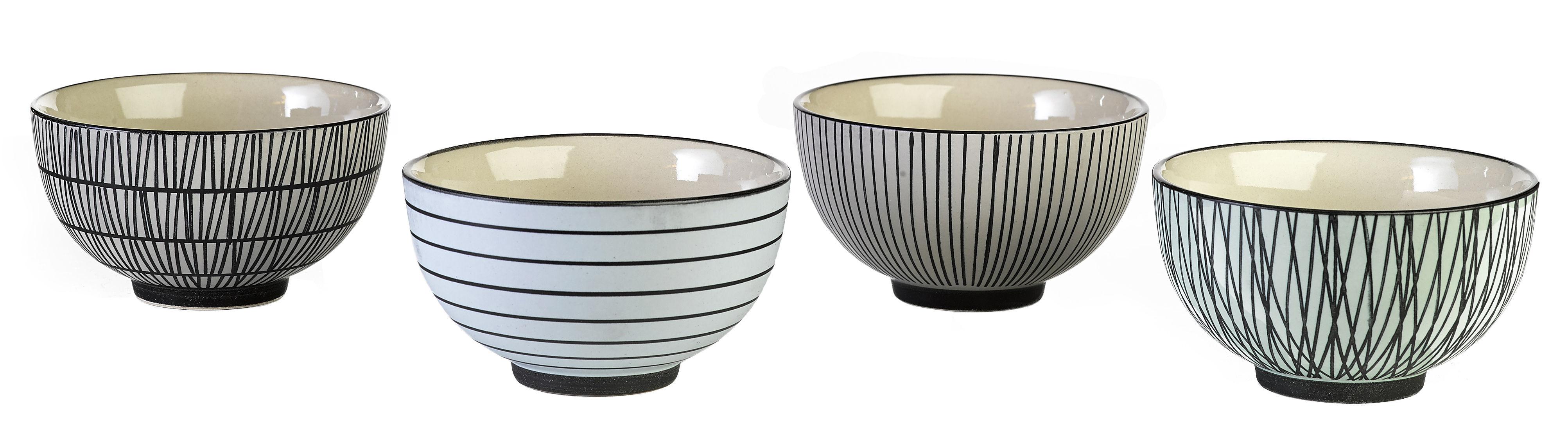 Arts de la table - Saladiers, coupes et bols - Bol Pastel Afresh / Set de 4 - Peint à la main - Pols Potten - Noir & blanc - Porcelaine émaillée