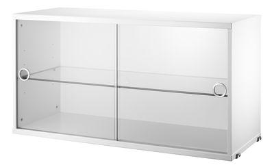 Caisson String System / 2 portes vitrées coulissantes - L 78 x P 30 cm - String Furniture blanc,transparent en verre