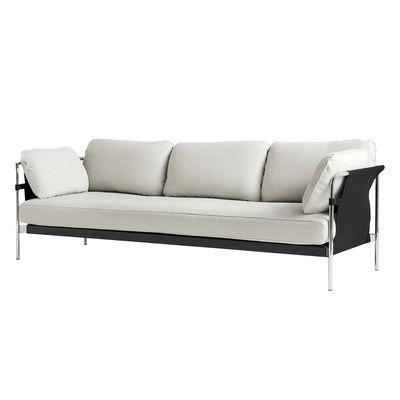 Mobilier - Canapés - Canapé droit Can / 3 places - Tissu - Hay - Blanc-gris (Linara 311) & côtés noirs /Métal chromé -  Plumes, Acier chromé, Mousse, Tissu