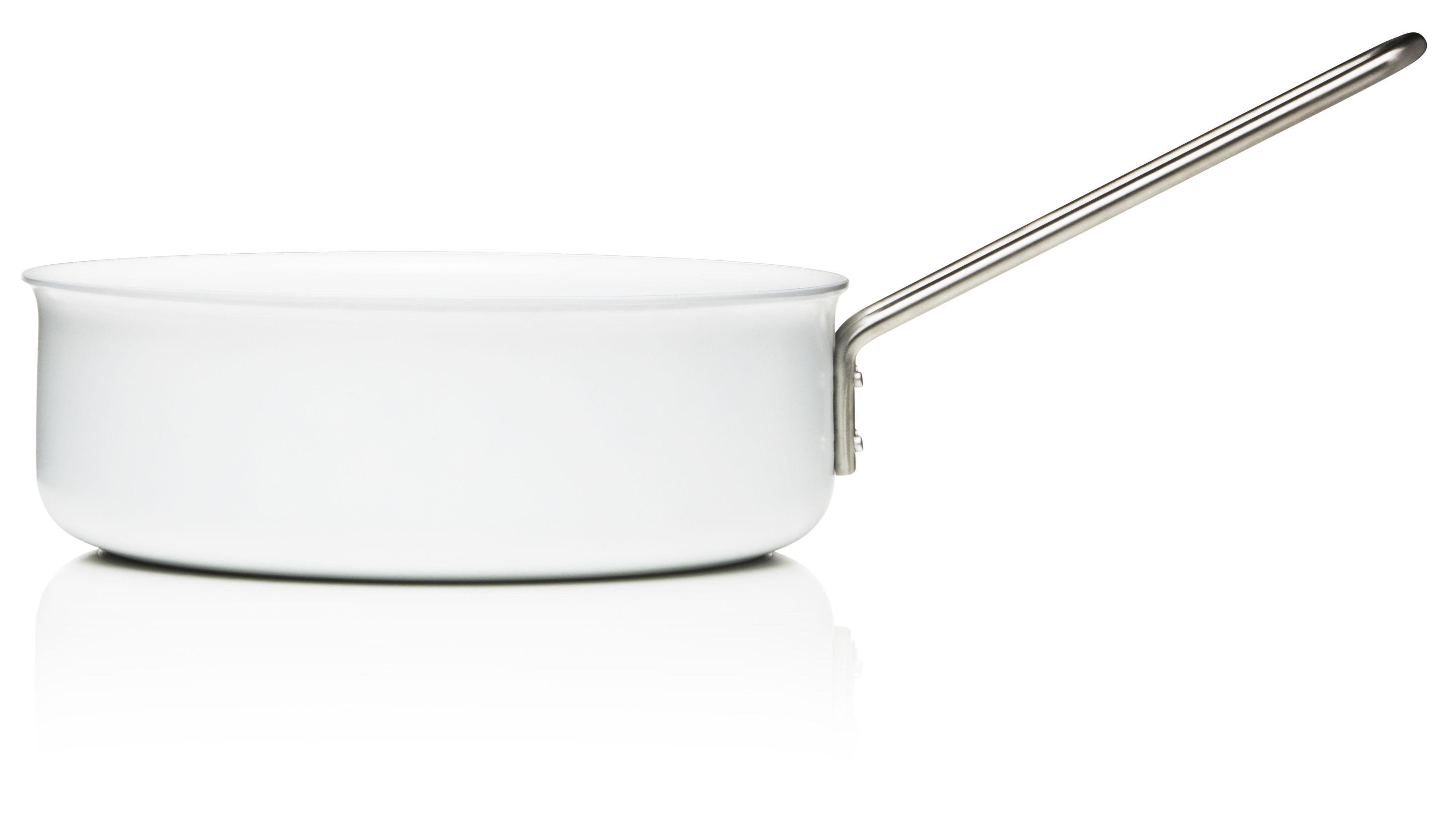 Cucina - Pentole, Padelle e Casseruole - Casseruola conica White Line - Ø 24 cm di Eva Trio - Ø 24 cm - Bianco - Acciaio inossidabile, Alluminio, Ceramica