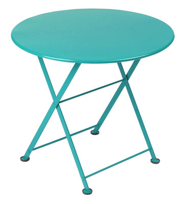 Furniture - Coffee Tables - Tom Pouce Coffee table by Fermob - Turquoise blue - Lacquered steel