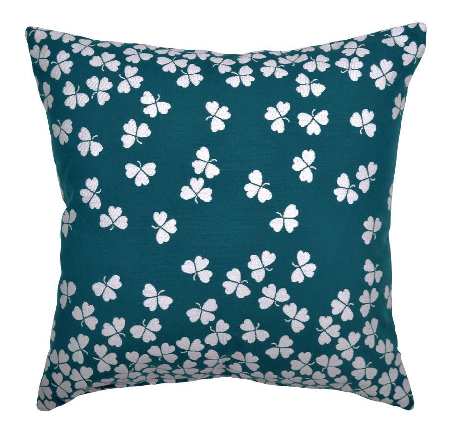 Interni - Cuscini  - Cuscino per esterno Trèfle - / 44 x 44 cm di Fermob - Blu anatra - Espanso, Tessuto