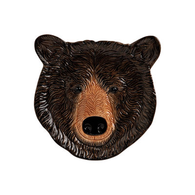 Decoration - Children's Home Accessories - Black bear Dessert plate - / Ø 18 cm - Hand painted porcelain by & klevering - Brown / Brown bear - China