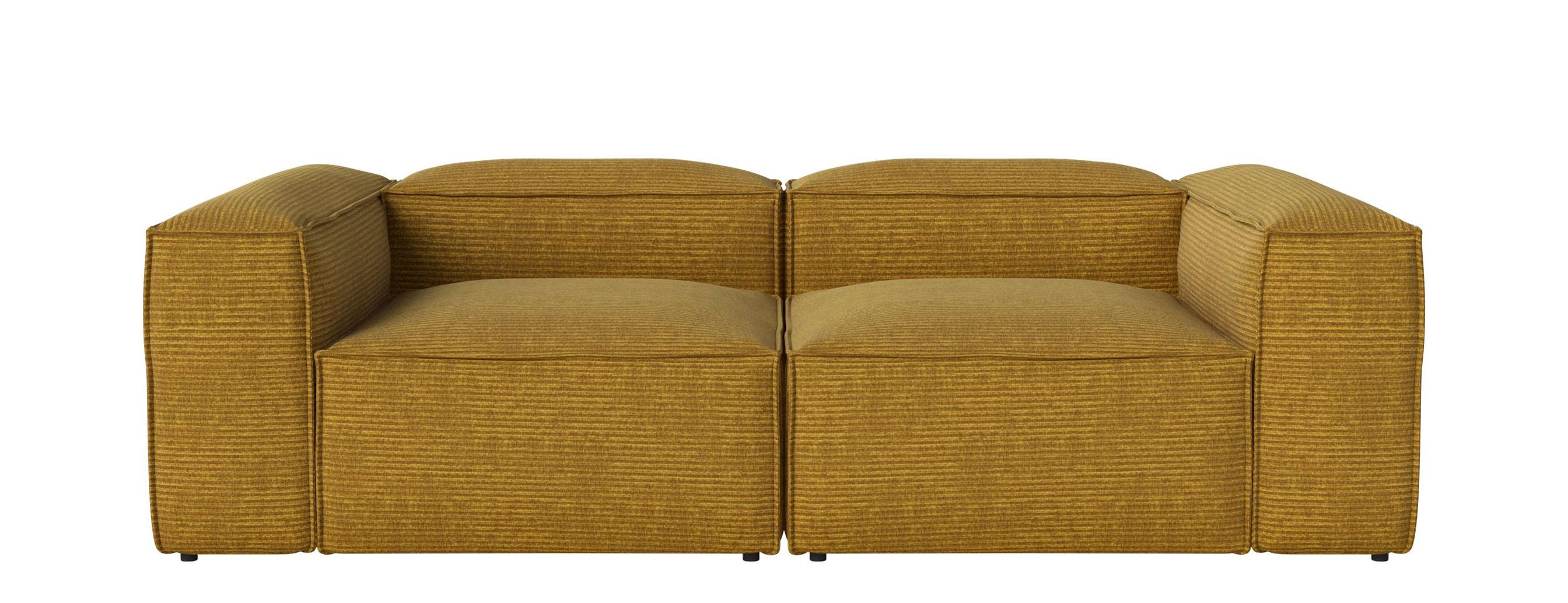 Arredamento - Divani moderni - Divano modulabile Cosima - Tessuto / 2 moduli - piccolo angolo - L 240 cm di Bolia - Giallo curry - Schiuma fredda, Tessuto Global