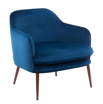 Fauteuil rembourré Charmy / Velours & métal - Pols Potten bleu en tissu