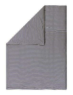 Housse de couette Oiva Tasaraita / 240 x 220 cm - Marimekko blanc,bleu marine en tissu