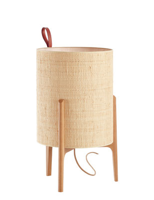 Lampe de table Greta / Ø 33 x H 58 cm - Carpyen chêne,naturel en tissu
