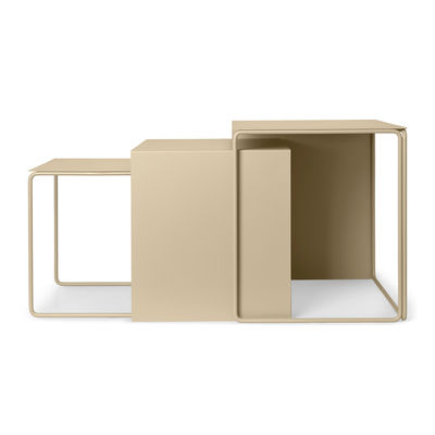 Furniture - Coffee Tables - Cluster Nested tables - / Set of 3 by Ferm Living - Cashmere beige - Powder coated steel