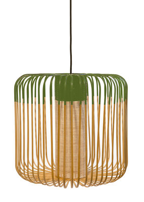 Lighting - Pendant Lighting - Bamboo Light M Outdoor Pendant - H 40 x Ø 45 cm by Forestier - Green / Natural - Natural bamboo, Rubber