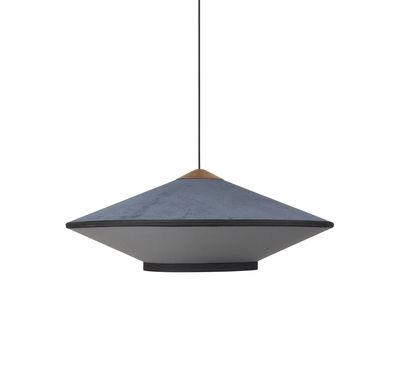 Lighting - Pendant Lighting - Cymbal Medium Pendant - / Ø 70 - Velvet by Forestier - Dark blue - Fabric, Oak, Velvet
