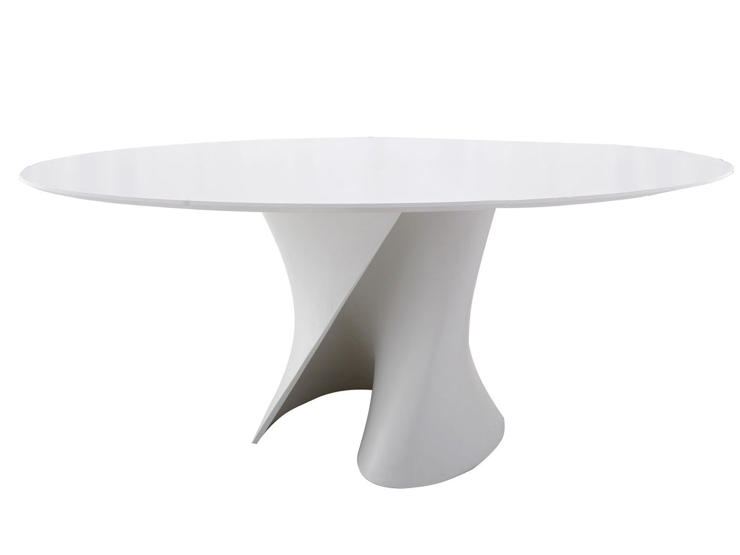 Furniture - Dining Tables - S Ovale Round table - Oval 150 x 210 cm by MDF Italia - White resin top / White leg - Cristalplant