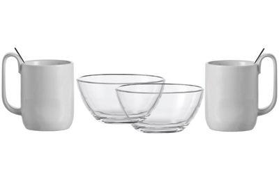 set vaisselle icon ensemble petit d jeuner 2 personnes 6 pi ces transparent blanc leonardo. Black Bedroom Furniture Sets. Home Design Ideas