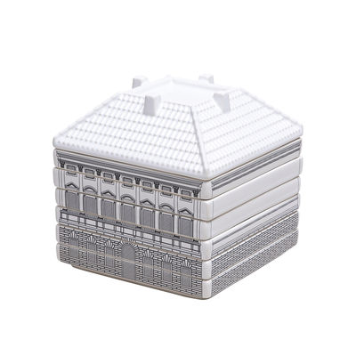 Arts de la table - Saladiers, coupes et bols - Set vaisselle Palace - Borghese / 6 assiettes à dessert + 1 bol empilables - Seletti - Blanc & noir - Porcelaine de Limoges