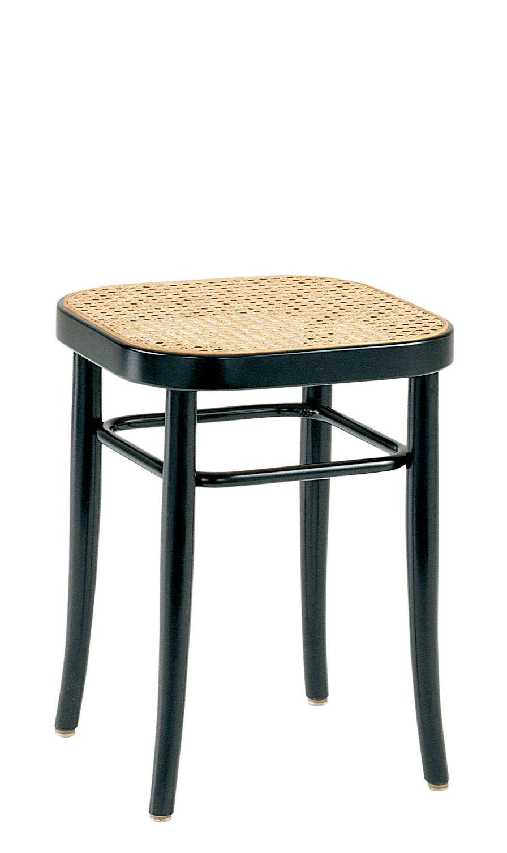 Arredamento - Sgabelli - Sgabello Vienna 144 - / H 45 cm, seduta impagliata - Riedizione 1908 di Wiener GTV Design - Seduta paglia / Struttura nera - Faggio massello curvato, Paglia