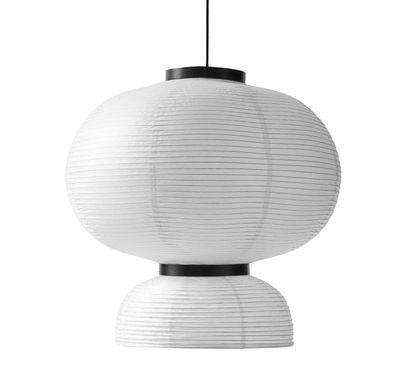 Illuminazione - Lampadari - Sospensione Formakami JH5 / Ø 70 x H 67 cm - And Tradition - Bianco avorio / Nero - Carta di riso, Rovere, Tessuto