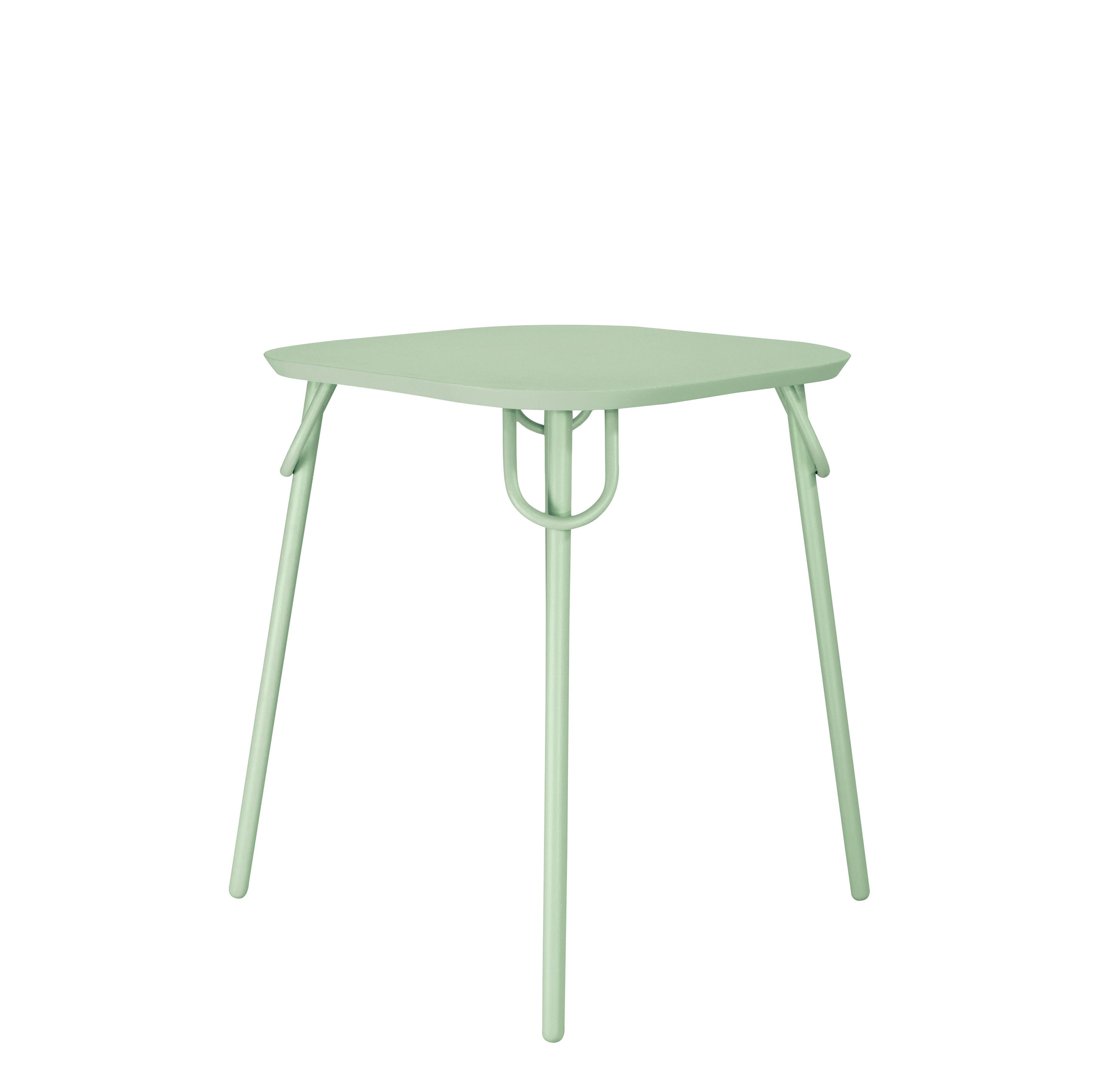 Outdoor - Garden Tables - Swim Duo Square table - / Indoor & outdoor - 63 x 63 cm by Bibelo - Venetian sky green - Epoxy lacquered steel