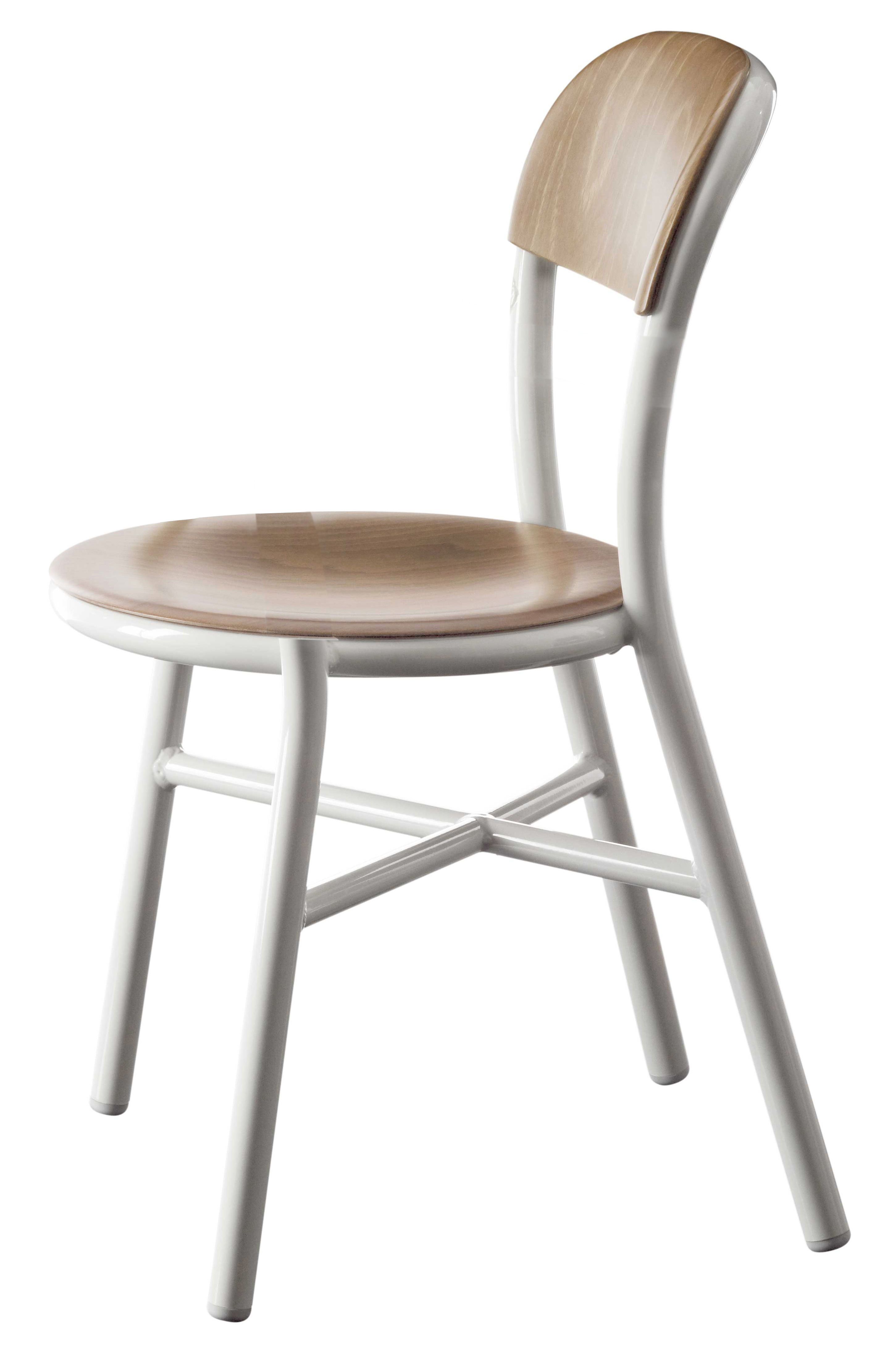 Furniture - Chairs - Pipe Stacking chair - Wood & metal by Magis - White / Natural beech - Beechwood plywood, Varnished aluminium