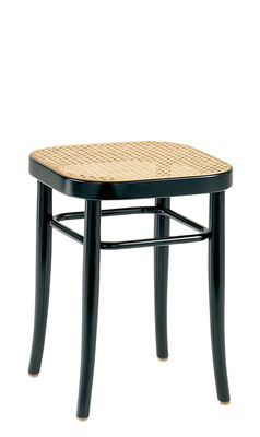 Furniture - Stools - Vienna 144 Stool - / H 45 cm, caned seat - 1908 reissue by Wiener GTV Design - Straw seat / Black structure - Curved solid beechwood, Straw