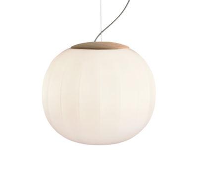 Suspension Lita / LED - Ø 30 cm - Luceplan blanc/bois naturel en verre/bois