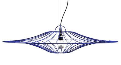 Luminaire - Suspensions - Suspension Ombrelle / Ø 100 cm - La Corbeille - Bleu / Fil noir - Acier laqué, Tissu