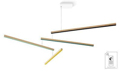 Suspension Tasso Thé Dimmable LED / Chêne - L 155 cm - Presse citron jaune,vert,turquoise,chêne clair,marine en bois