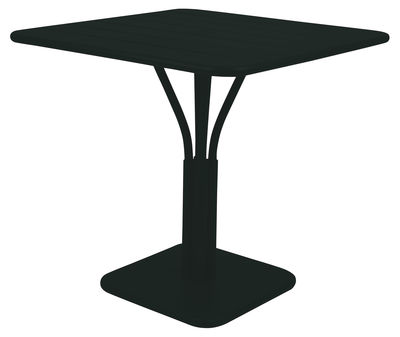 Table carrée Luxembourg / 80 x 80 cm - Pied central - Aluminium - Fermob réglisse en métal