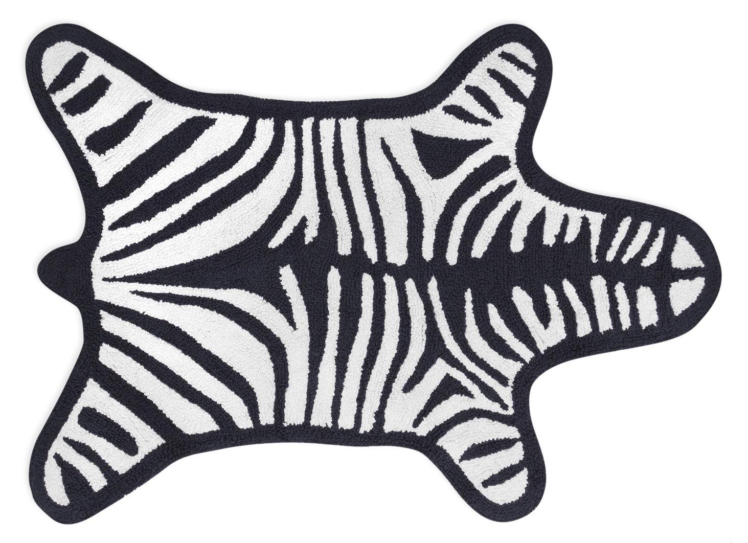 Accessoires - Accessoires salle de bains - Tapis de bain Zebra / Reversible - 112 x 79 cm - Jonathan Adler - Blanc / Noir - Coton