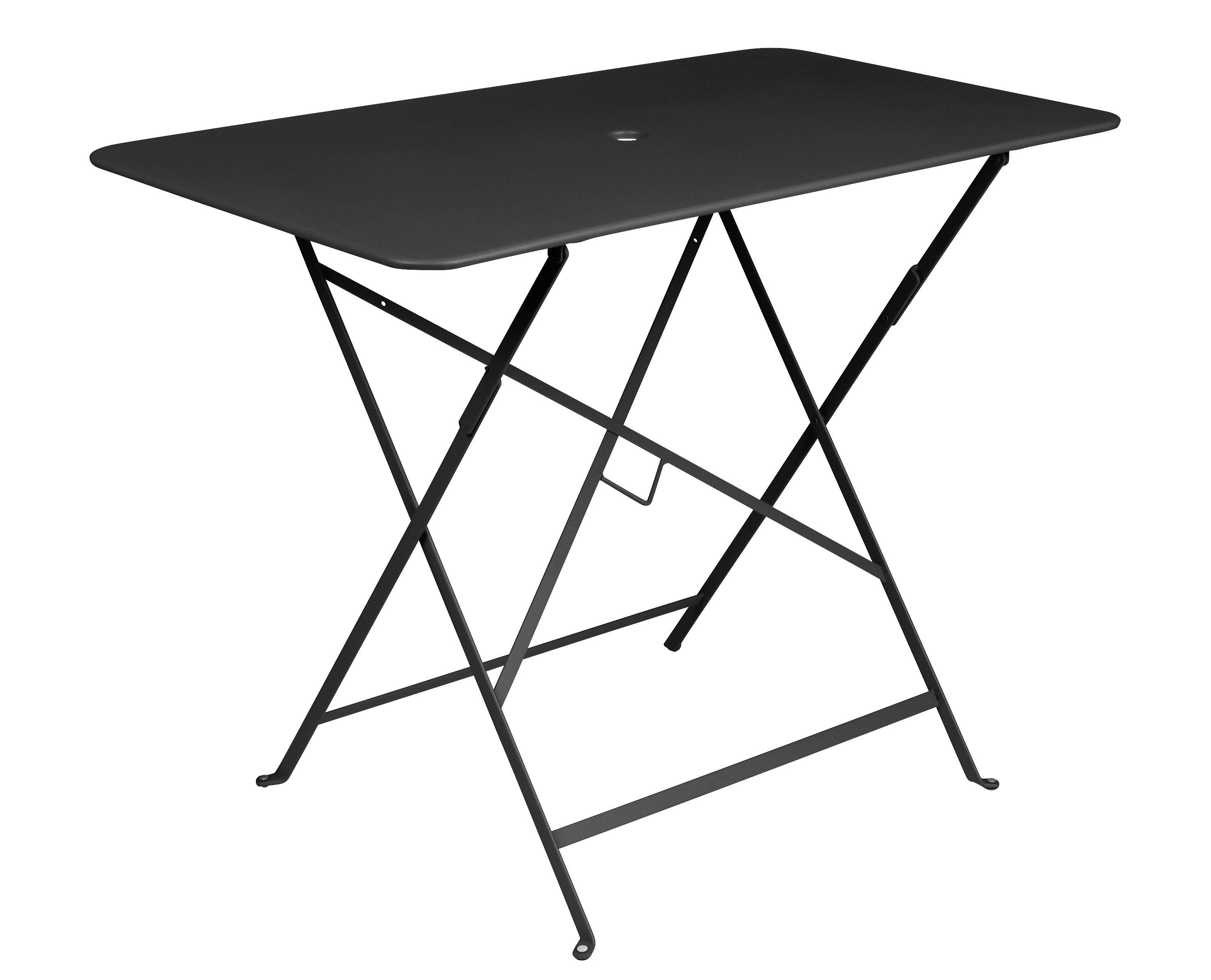 Outdoor - Tavoli  - Tavolo pieghevole Bistro / 97 x 57 cm - 4 persone - Foro per ombrellone - Fermob - Liquirizia - Acciaio verniciato