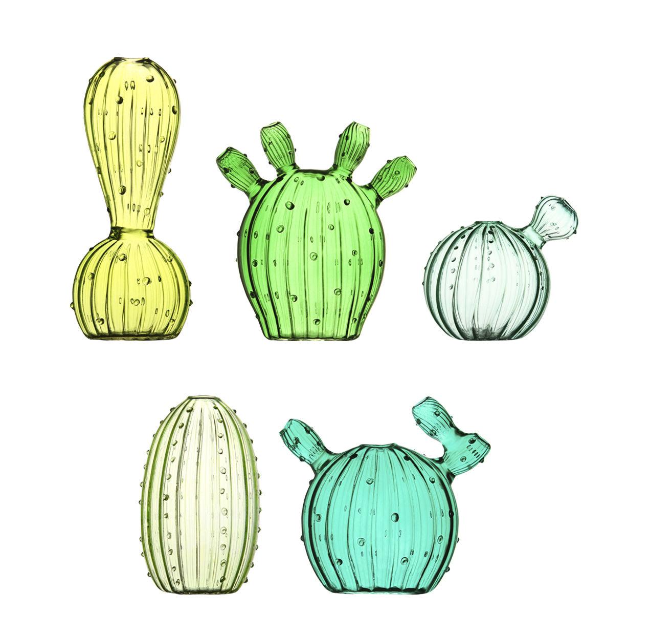 Decoration - Vases - Cactus Vase - / Set of 5 by & klevering - Green - Tinted glass