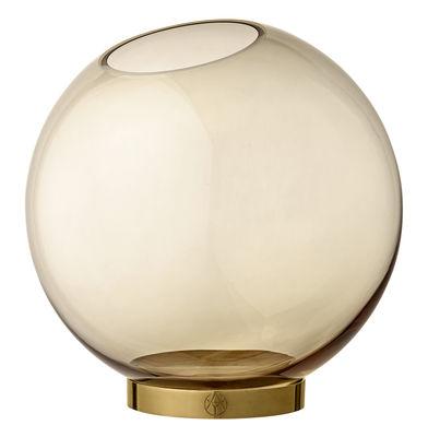 Vase Globe Large / Ø 21 cm - Verre & laiton - AYTM ambre,laiton en métal