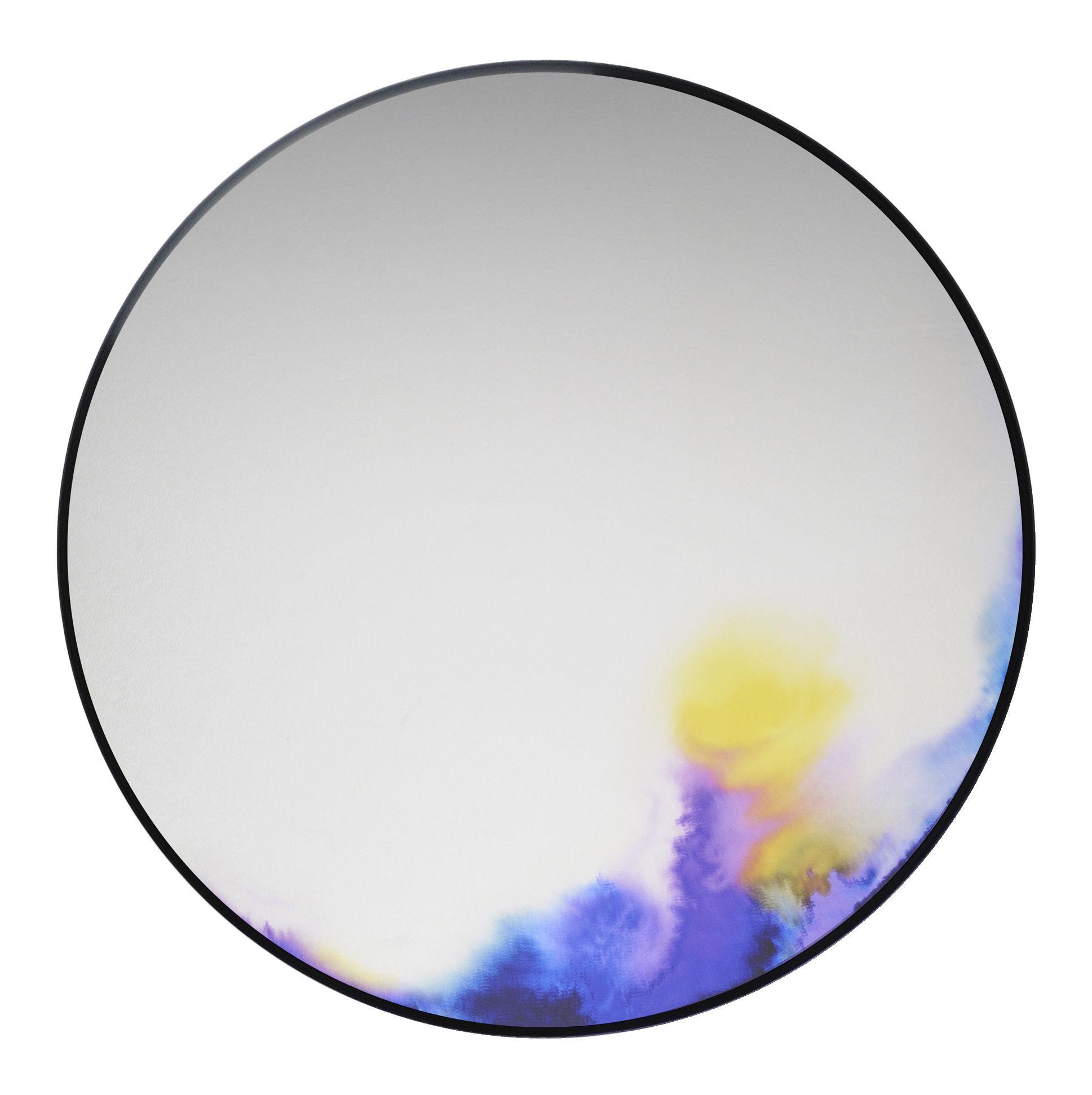Möbel - Spiegel - Francis Wandspiegel Ø 60 cm - Petite Friture - Blaues Aquarell - bemaltes Aluminium, Glas