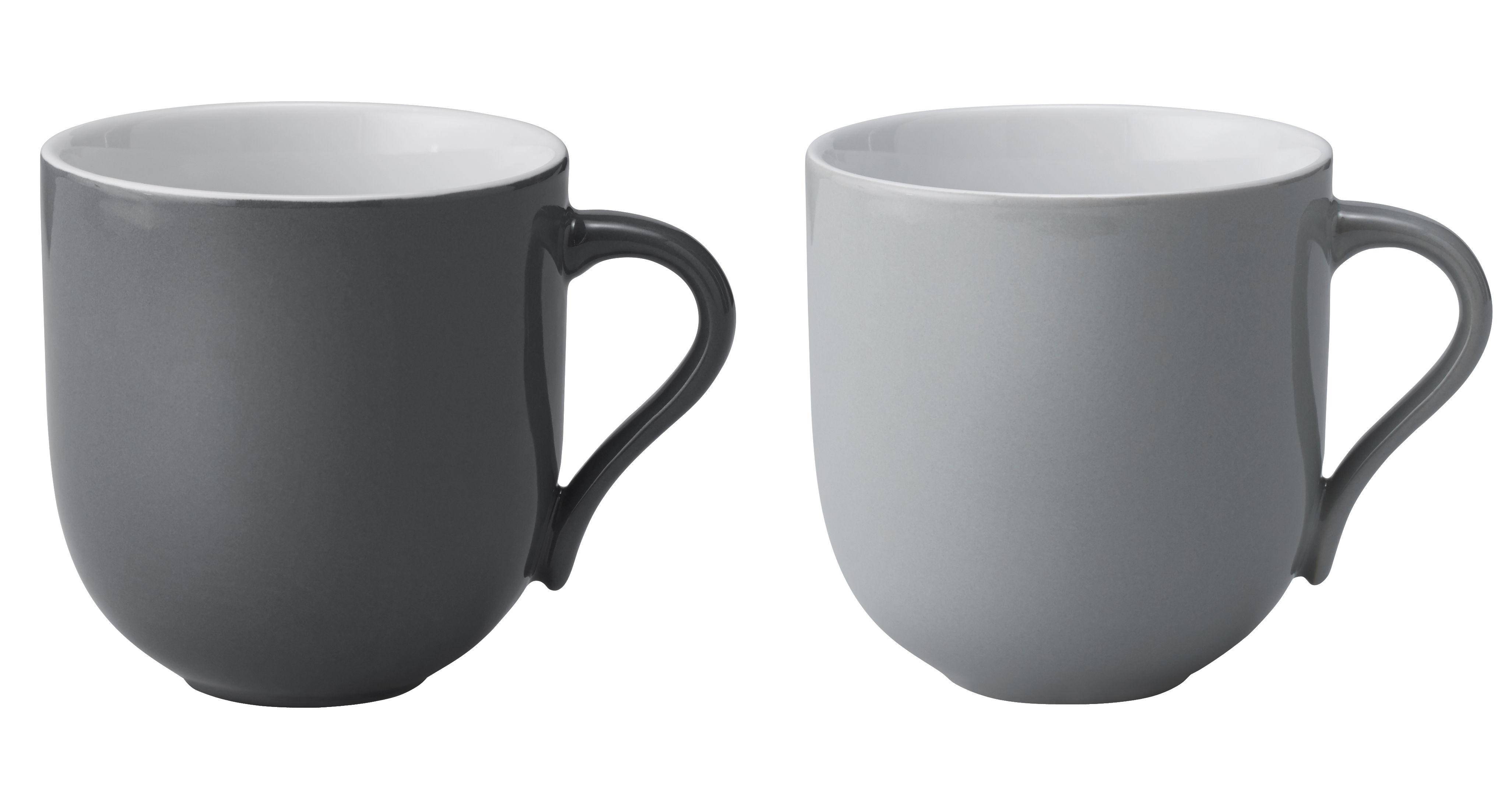 Tischkultur - Tassen und Becher - Emma Becher / 2er-Set - 380 ml - Stelton - Hellgrau & dunkelgrau - emaillierte Keramik