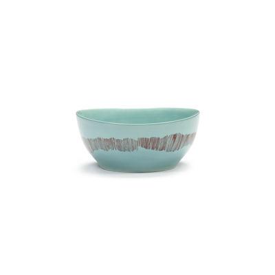 Arts de la table - Saladiers, coupes et bols - Bol Feast Small / Ø 16 x H 7,5 cm - Serax - Traits / Turquoise & rouge - Grès émaillé