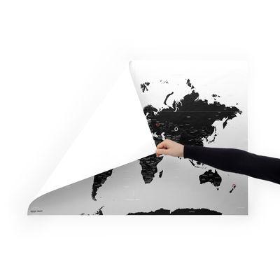 Déco - Pour les enfants - Carte du monde à personnaliser Magic Map / Fixation magique au mur - 100 x 70 cm - Palomar - Blanc & noir - PET