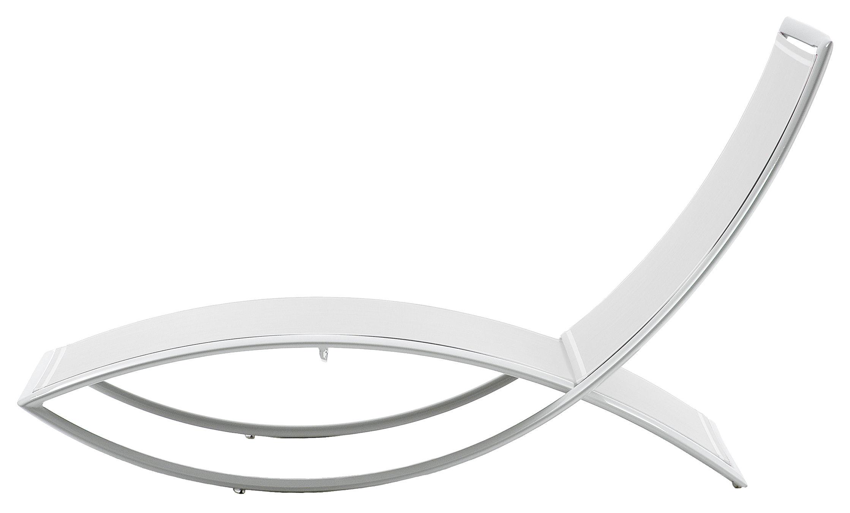 Outdoor - Chaises longues et hamacs - Chaise longue Fish - EGO Paris - Toile blanche / structure blanche - Aluminium laqué, Toile Batyline
