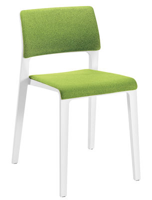 Mobilier - Chaises, fauteuils de salle à manger - Chaise rembourrée Juno / Dossier ouvert - Arper - Blanc / Tissu vert - Polypropylène, Tissu Kvadrat