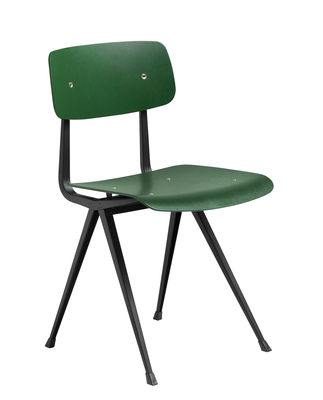 Mobilier - Chaises, fauteuils de salle à manger - Chaise Result / Réédition 1958 - Hay - Vert / Pieds noirs - Acier laqué, Contreplaqué de chêne teinté