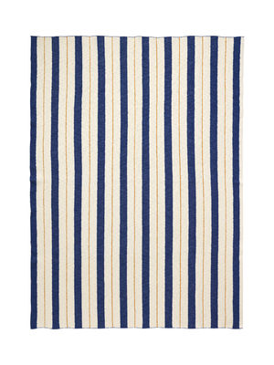 Furniture - Kids Furniture - Rayures - Effet 3D Children blanket - / 120 x 160 cm by Ferm Living - Bleu & jaune - Cotton
