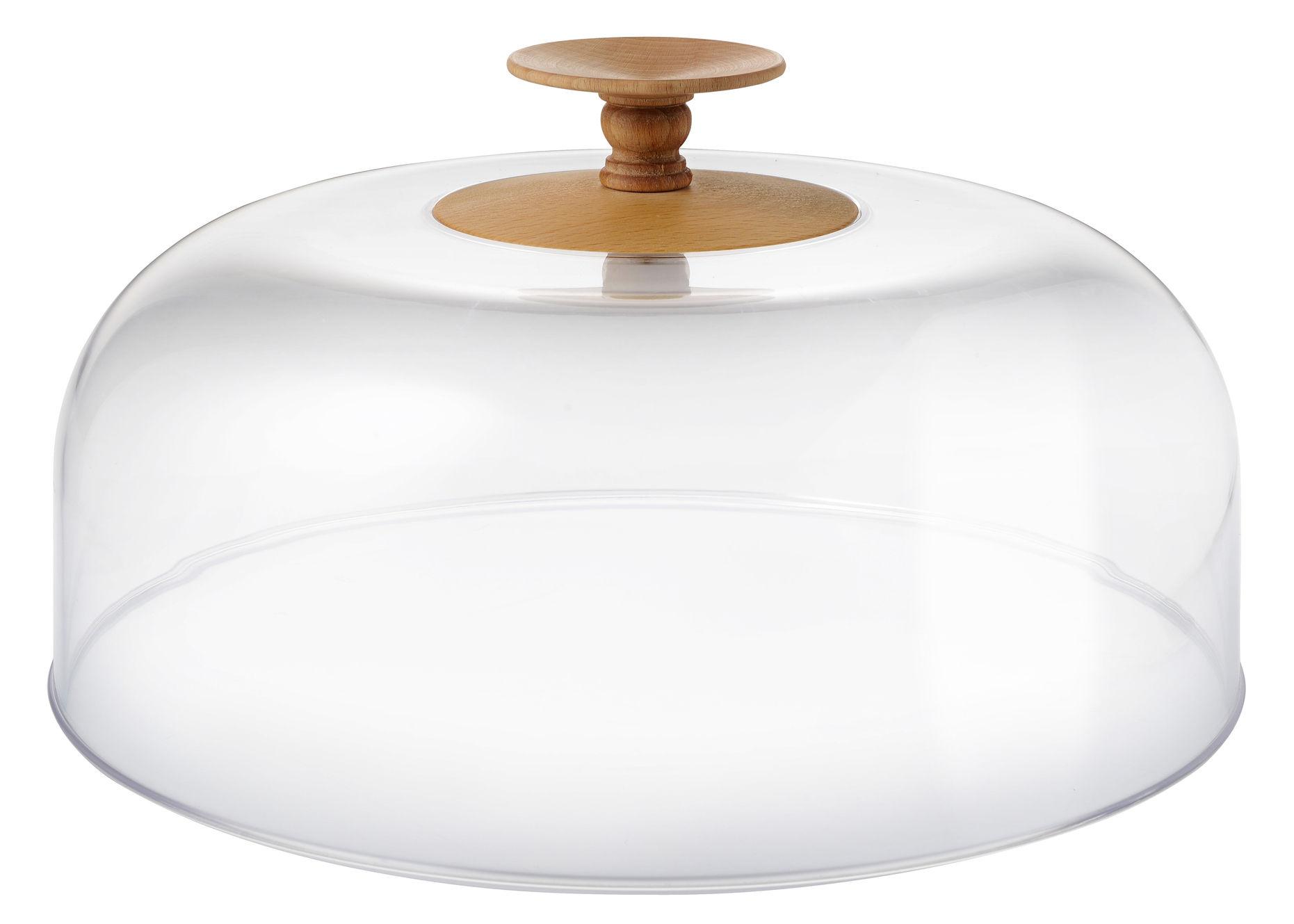 Arts de la table - Plateaux - Couvercle Dressed in Wood / Ø 32 cm - Alessi - Transparent / Bois naturel - Hêtre, PMMA