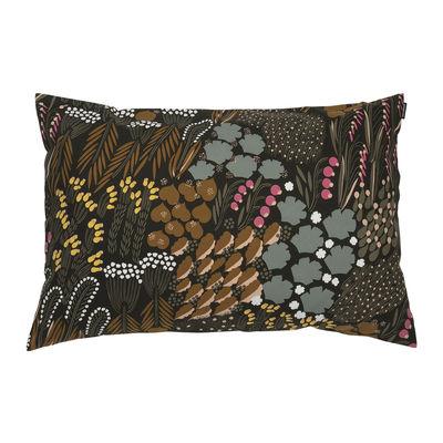 Decoration - Cushions & Poufs - Pieni Letto Cushion cover - / 60 x 40 cm by Marimekko - Pieni Letto / / Dark green, brown & peach - Cotton