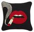 Lips Smolder Cushion - / Hand-embroidered - 46 x 46 cm by Jonathan Adler